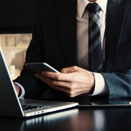 business meeting laptop crop